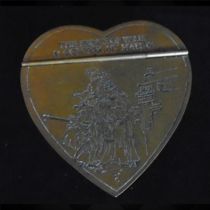 Engraved Heart Shaped Brass Snuff Box (1 of 1)