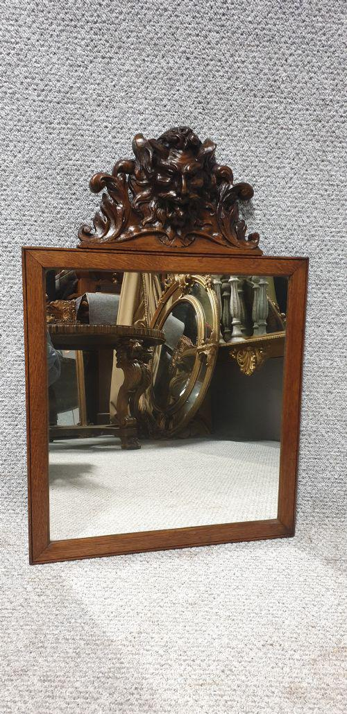 Carved Oak Devil Head Mirror (1 of 1)