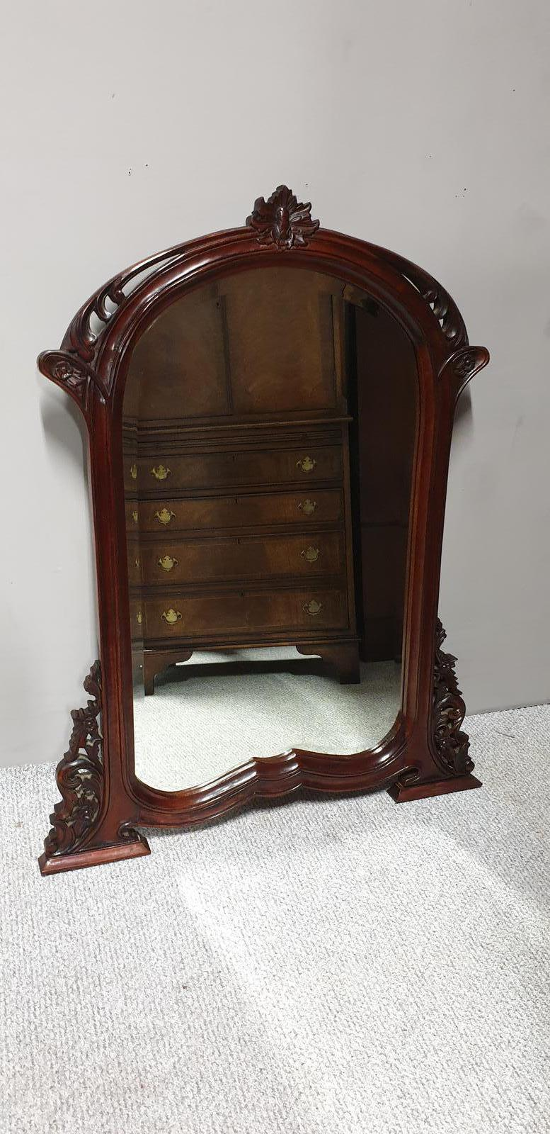 Carved Mahogany Overmantle Mirror (1 of 1)