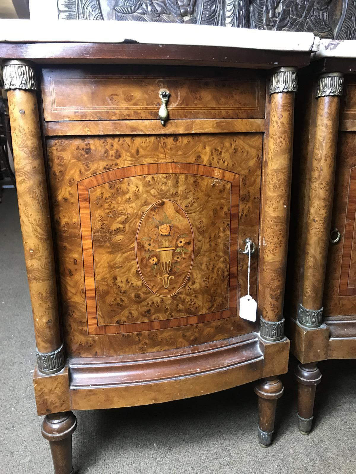 Pair of French Marble Top Bedside Cabinets (1 of 1)