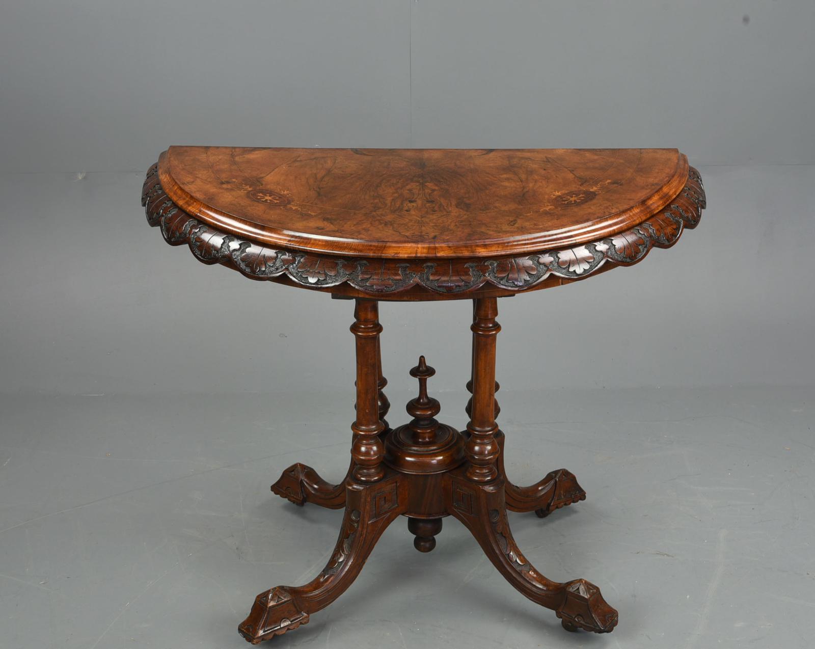 Victorian Burr Walnut Demi Lune Card Table (1 of 1)