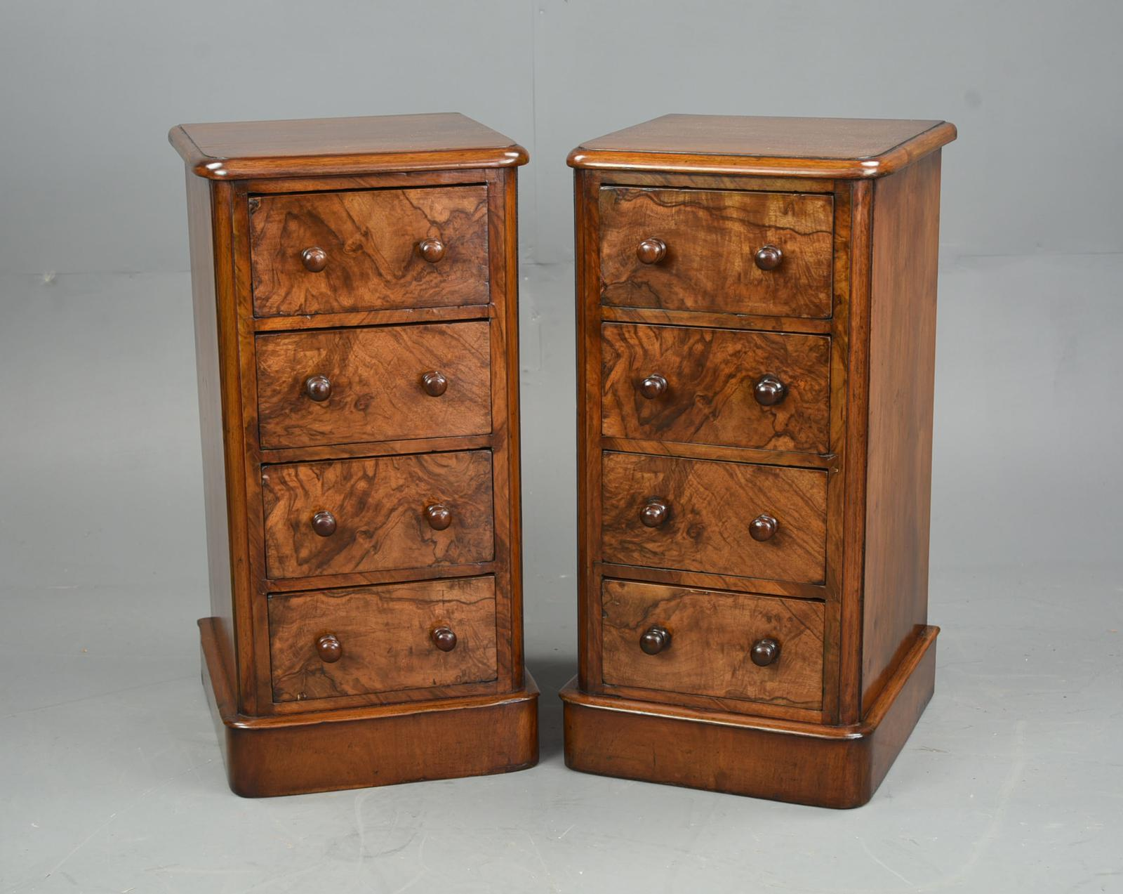 Pair of Victorian Burr Walnut Bedside Chests of Drawers (1 of 1)
