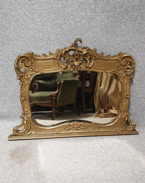 Victorian Gilt Overmantle Mirror (1 of 1)