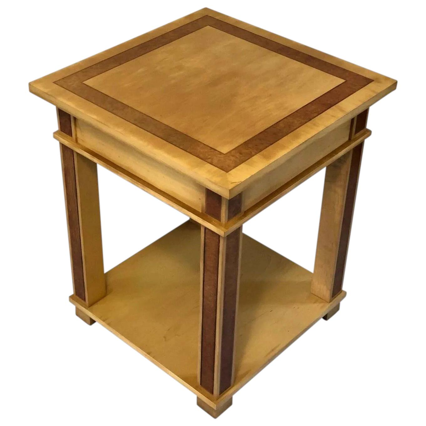 Art Deco Style 20th Century French Blonde Wood Side Table 445762f La326793 Loveantiques Com