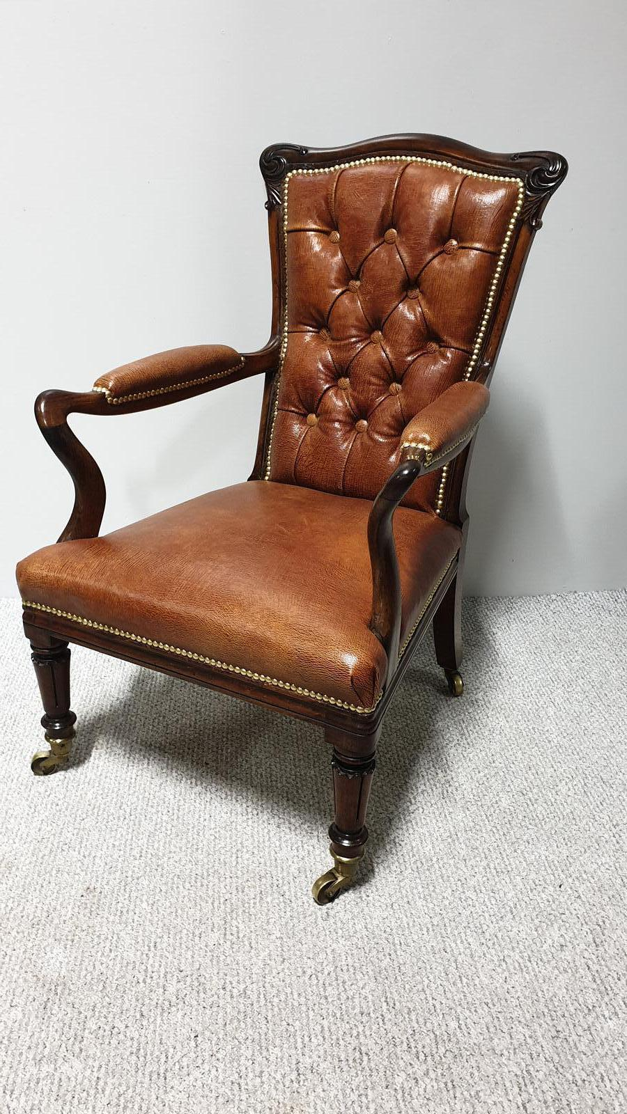 Outstanding Rosewood & Leather Library Chair (1 of 1)