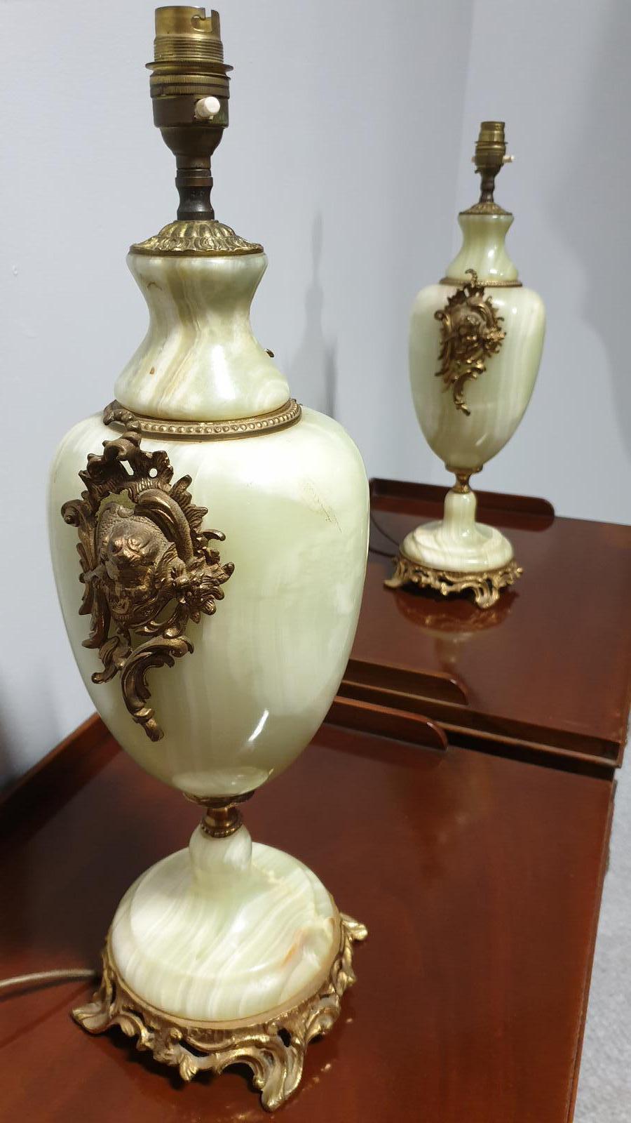 Wonderful Pair of Large Onyx & Ormolu Lamps (1 of 1)