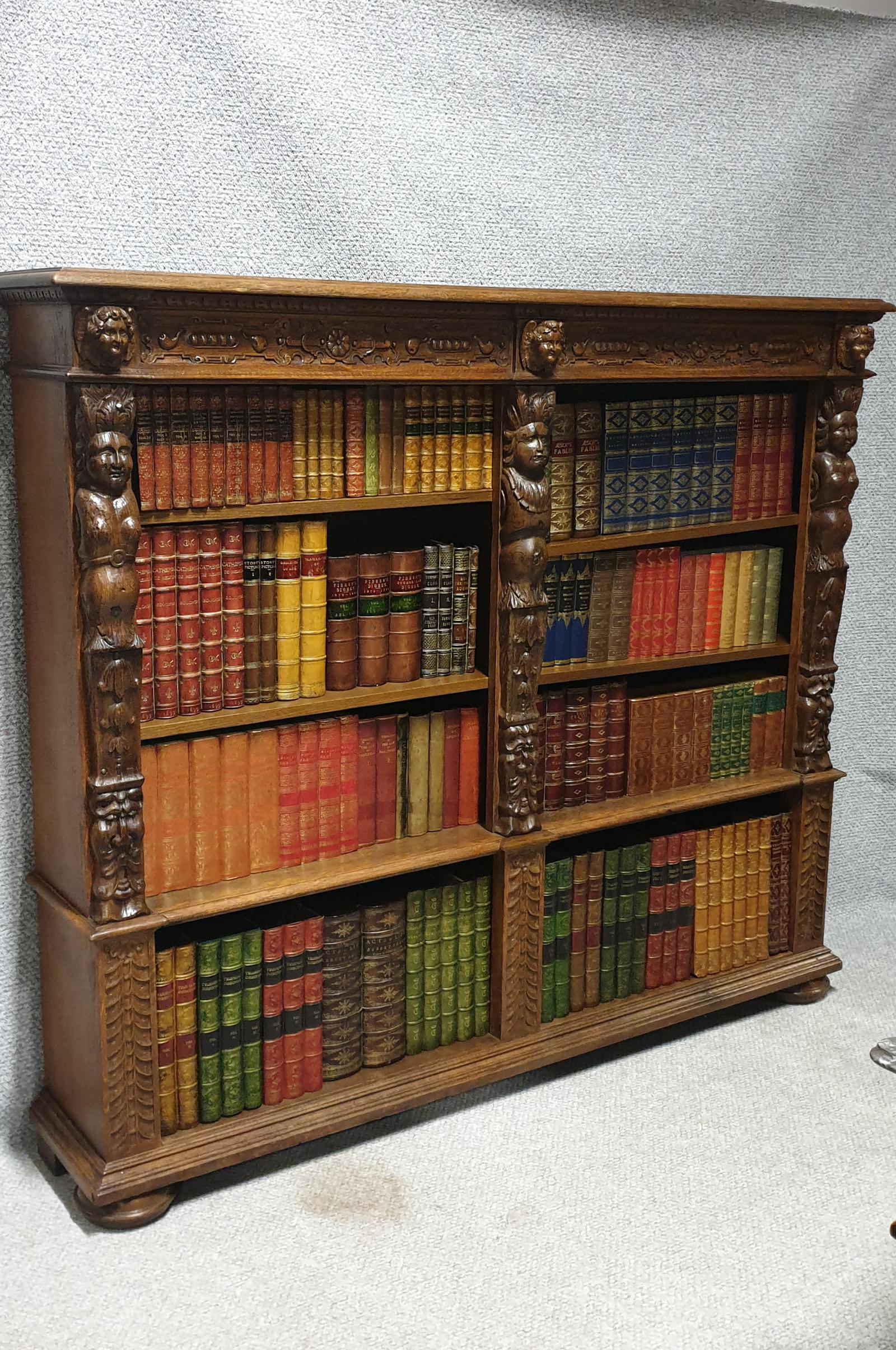 Outstanding Carved Oak Open Library Bookcase (1 of 1)