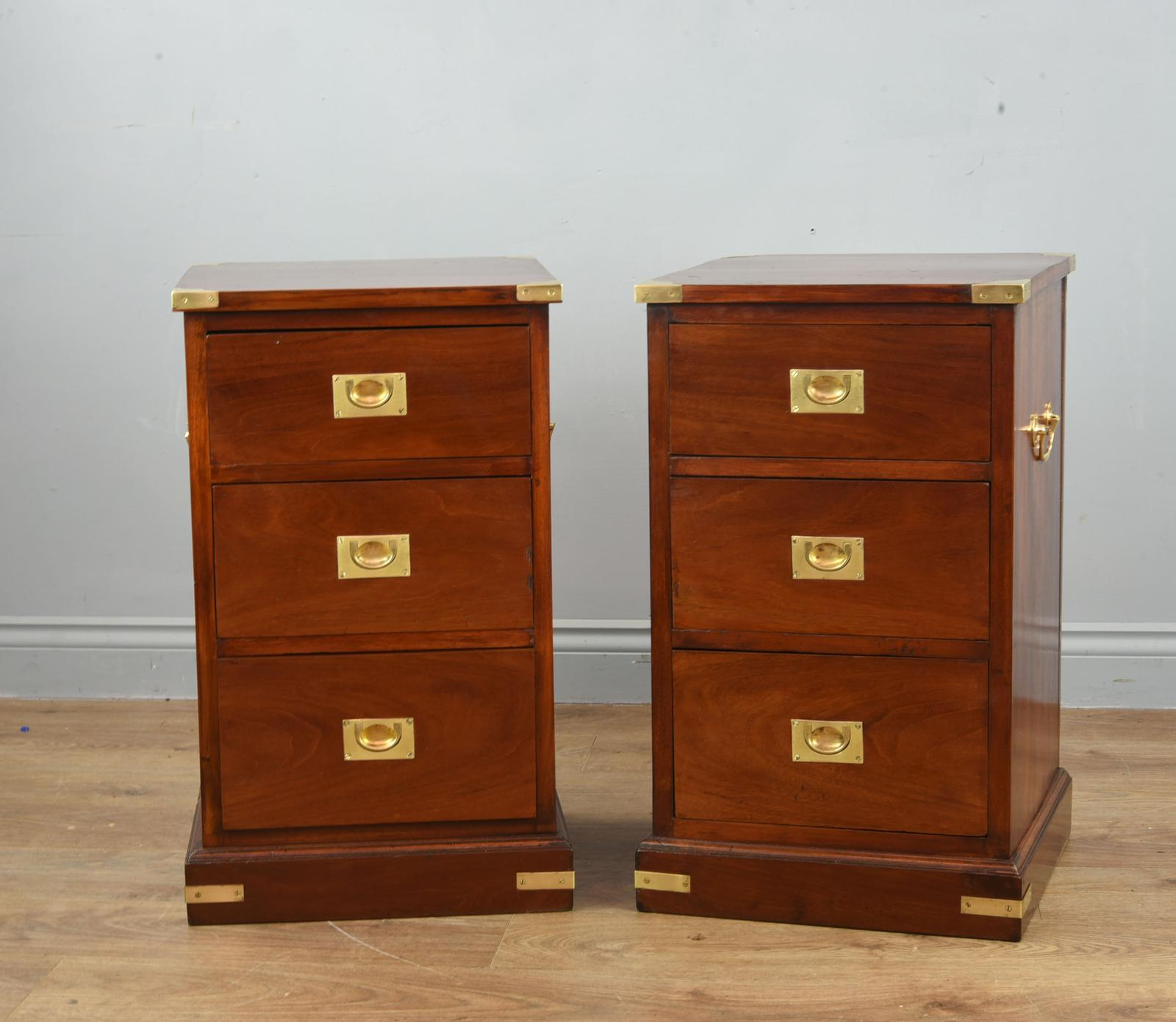 Superb Antique Pair of Mahogany Campaign Bedside Chests of Drawers (1 of 1)