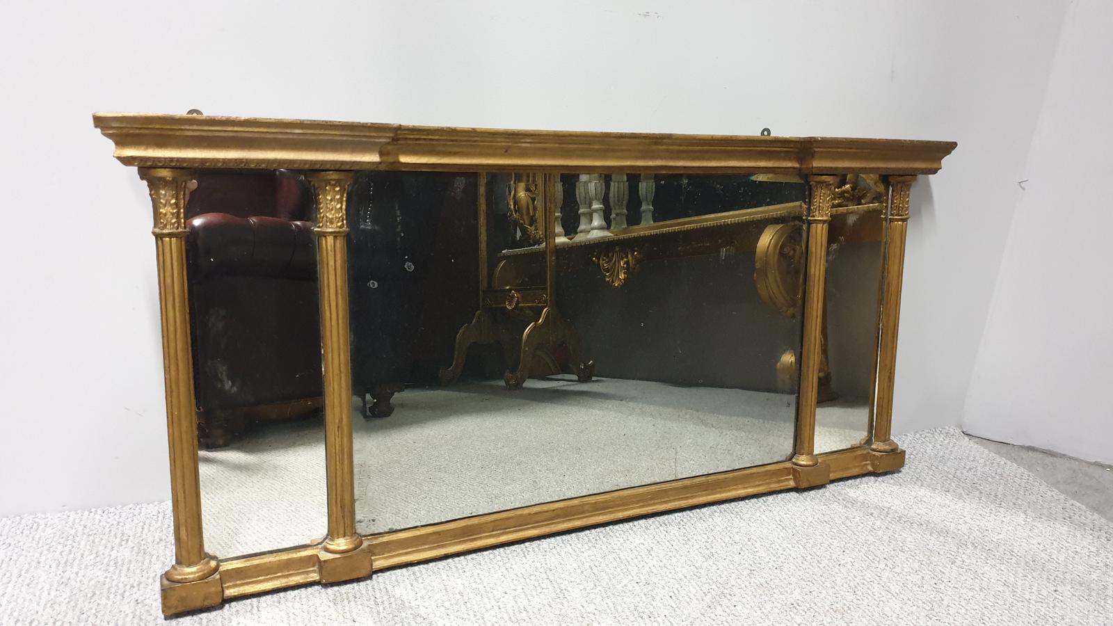 Regency Tryptic Gilt Overmantle Mirror (1 of 1)