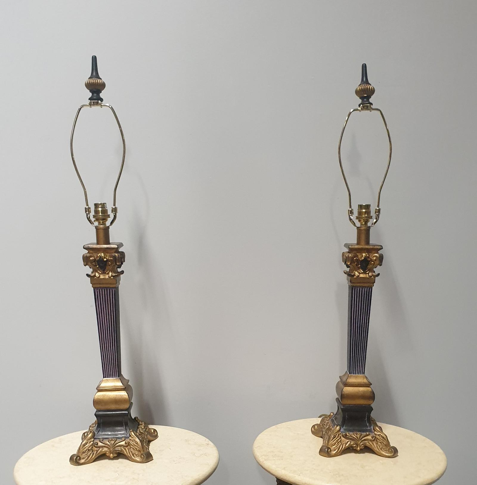 Nice Pair of Column Table Lamps (1 of 1)