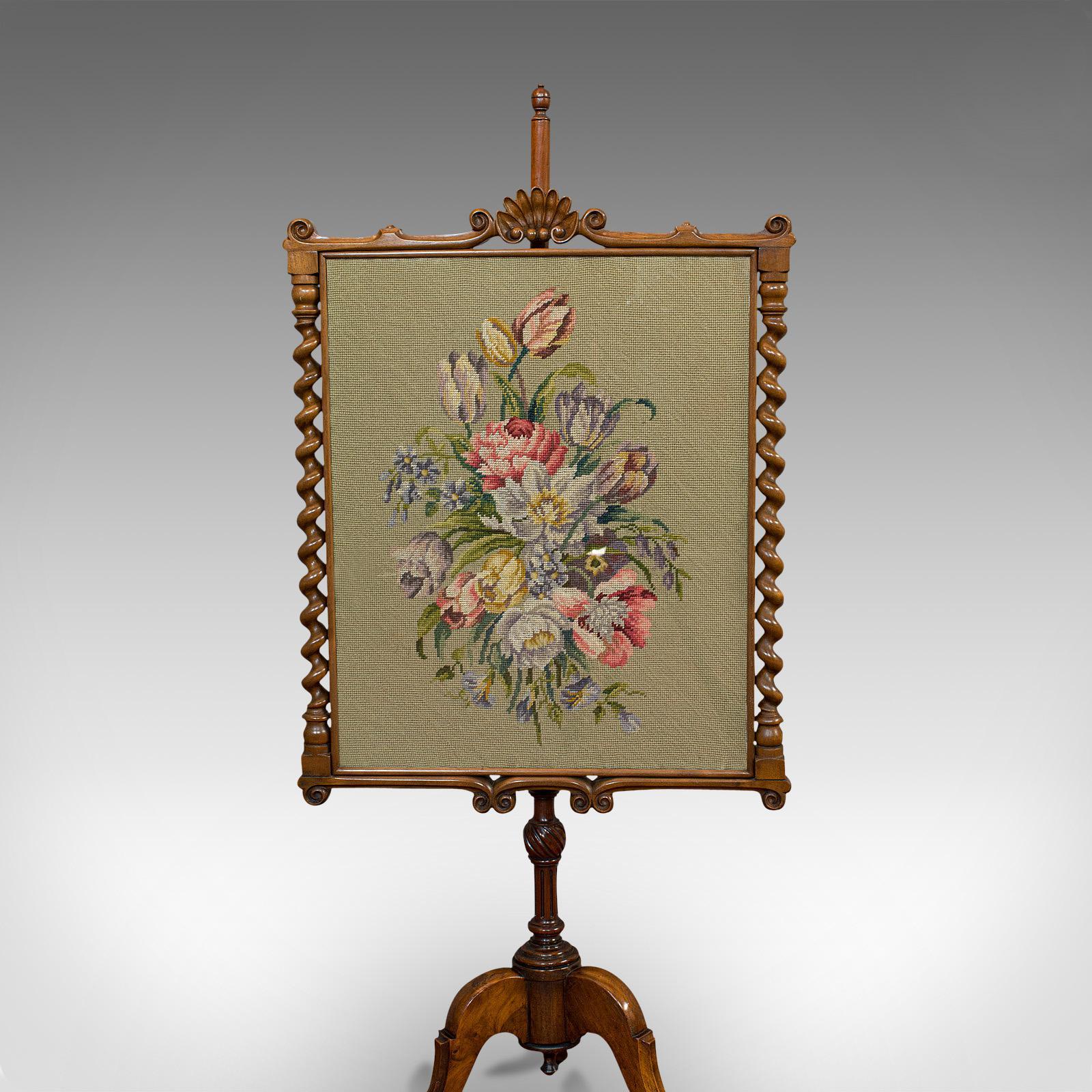 Antique Adjustable Fire Screen Walnut Needlepoint Decorative Pole Regency 18 7030 La329098 Loveantiques Com
