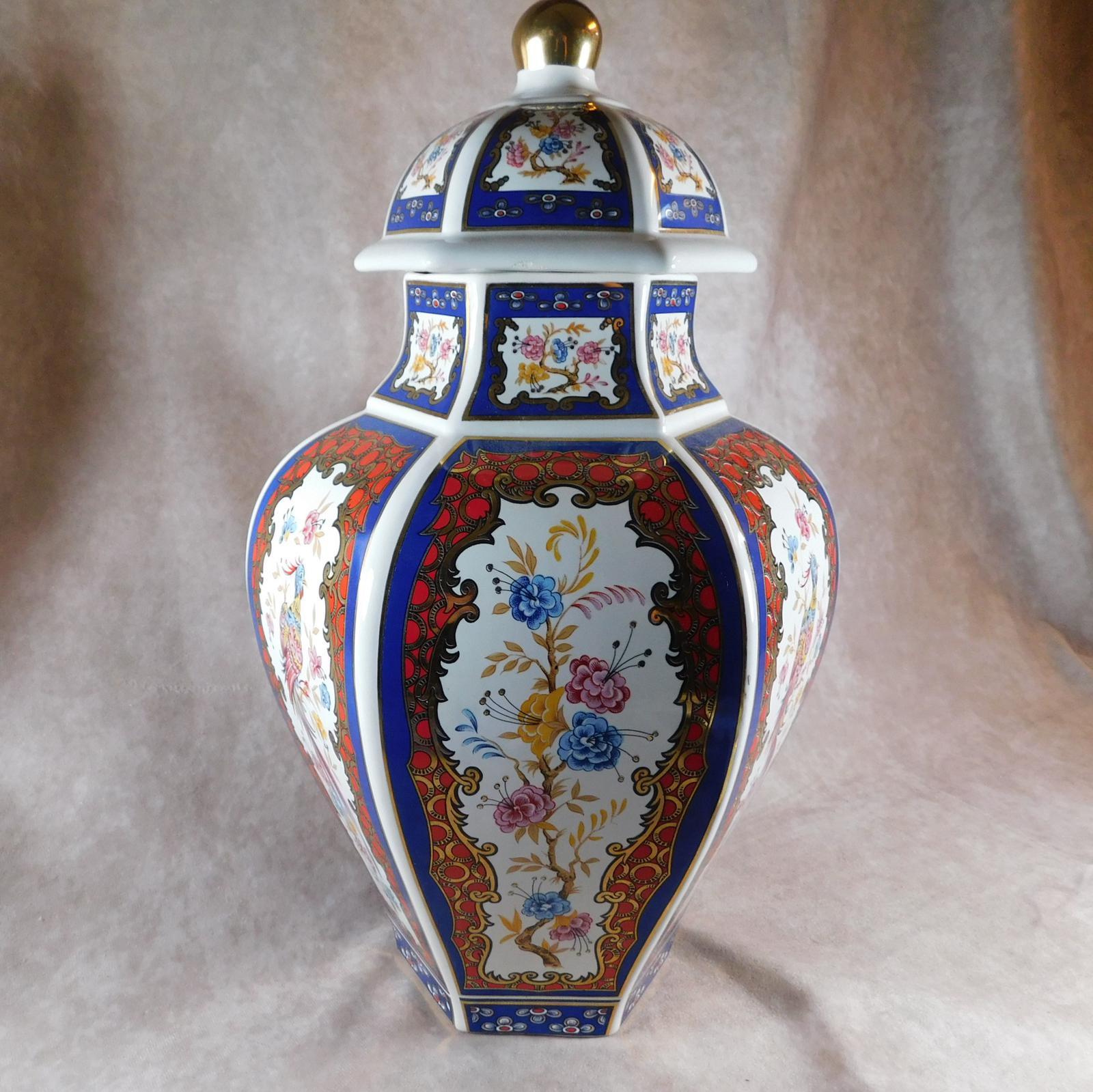 Hexagonal Oviform Oriental Lidded Vase (1 of 1)