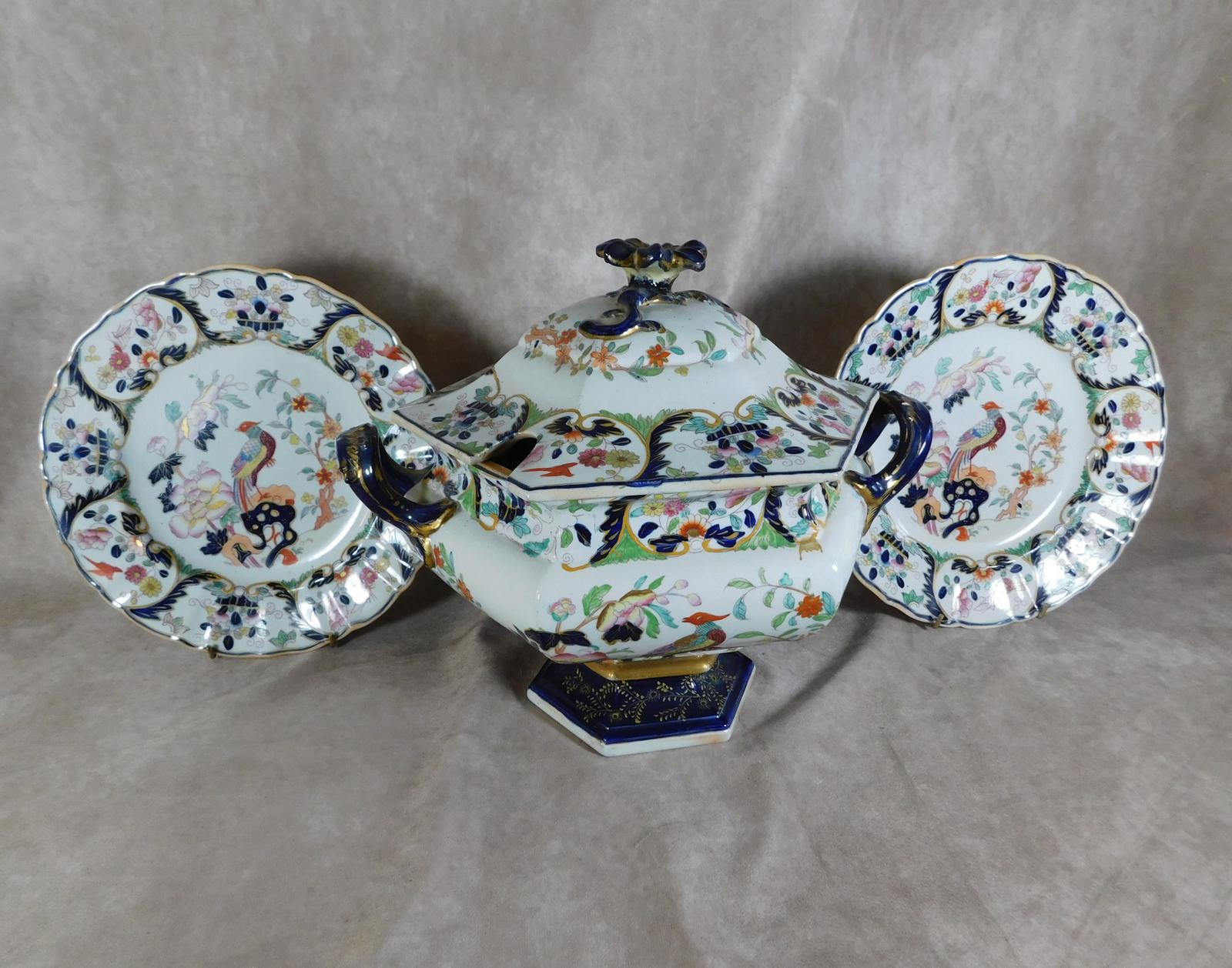 Large, 19th Century, Mason's Ironstone Soup Tureen with a Pair of Matching Plates, Retailed by Allsup (1 of 1)