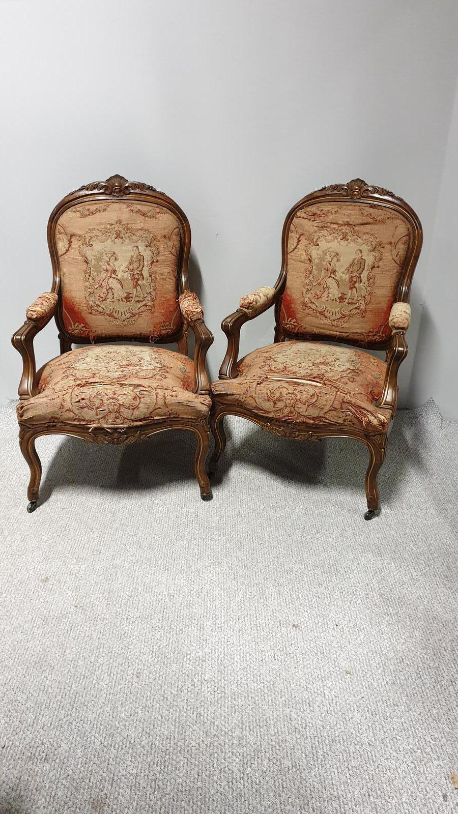 Pair of French Walnut Country House Fauteuil Armchairs (1 of 1)