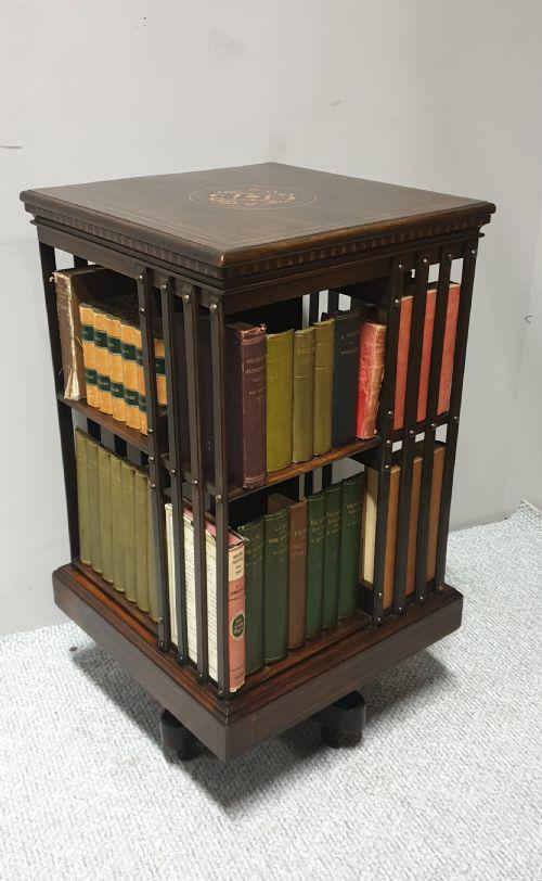 Rosewood Inlaid Revolving Bookcase (1 of 1)