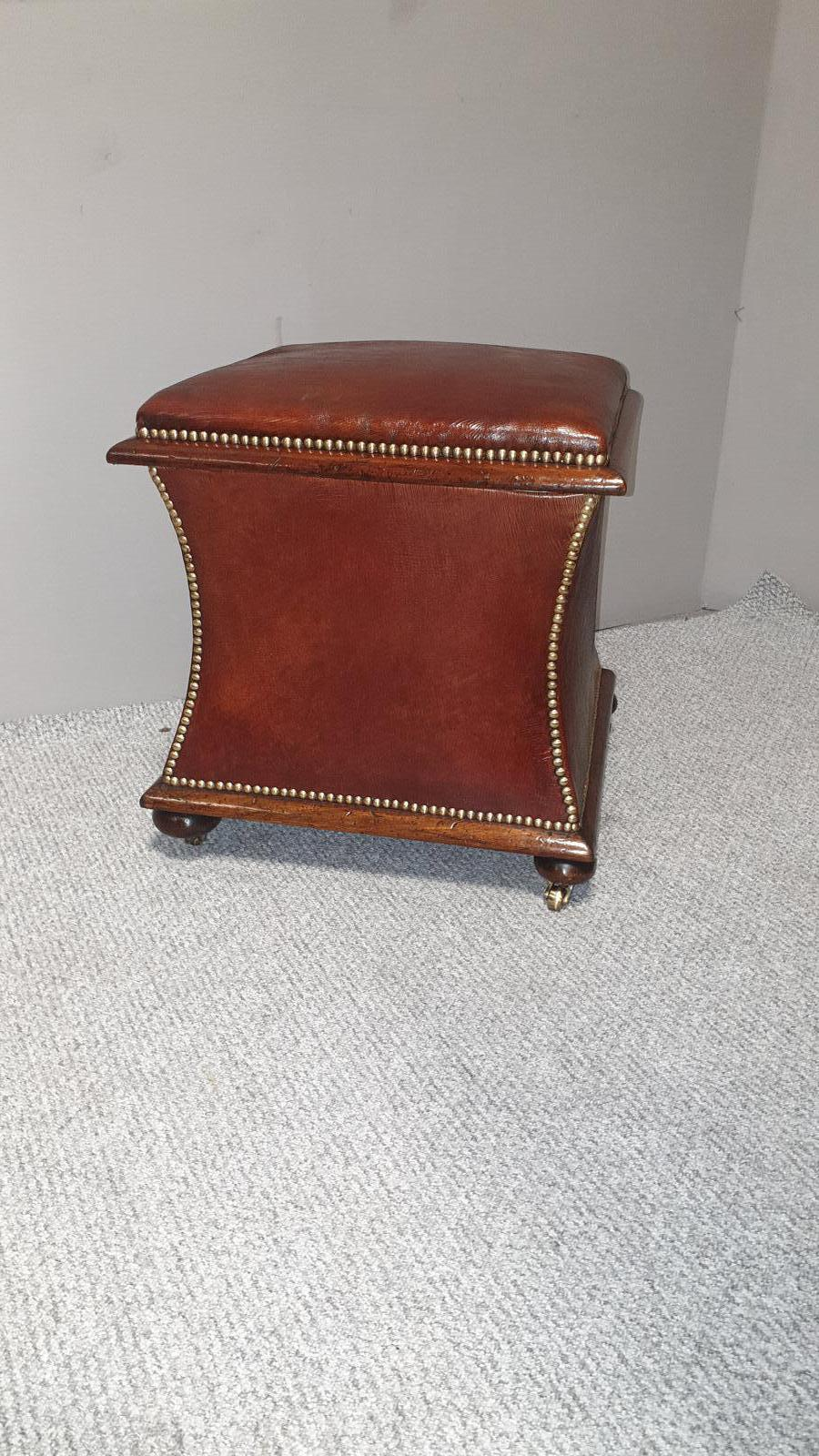 Regency Waisted Leather Ottoman Box (1 of 1)