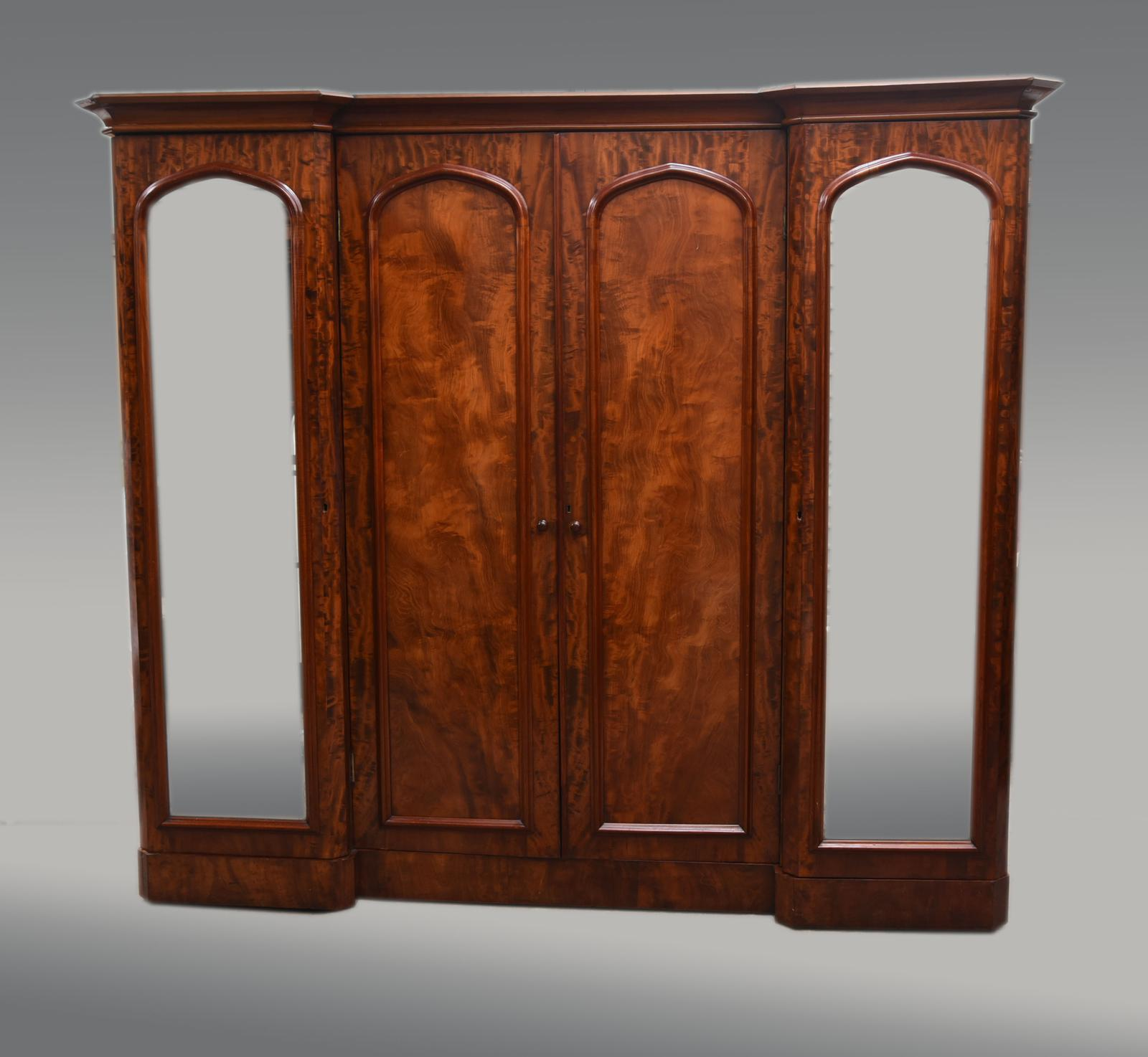 Large Antique Mahogany Four Door Breakfront Compactum Wardrobe (1 of 1)