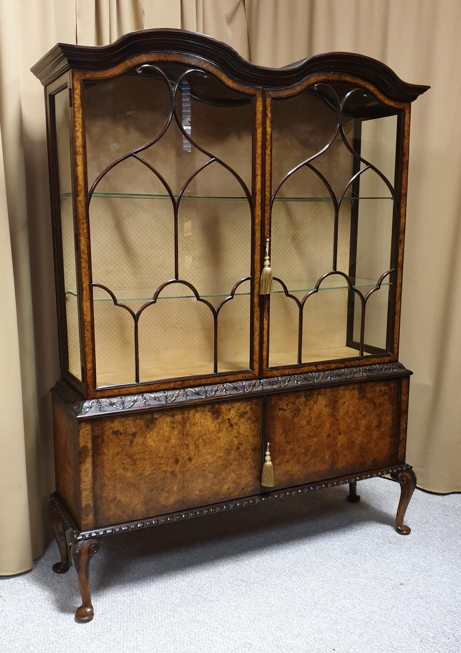 Top Quality Burr Walnut Display Cabinet (1 of 1)
