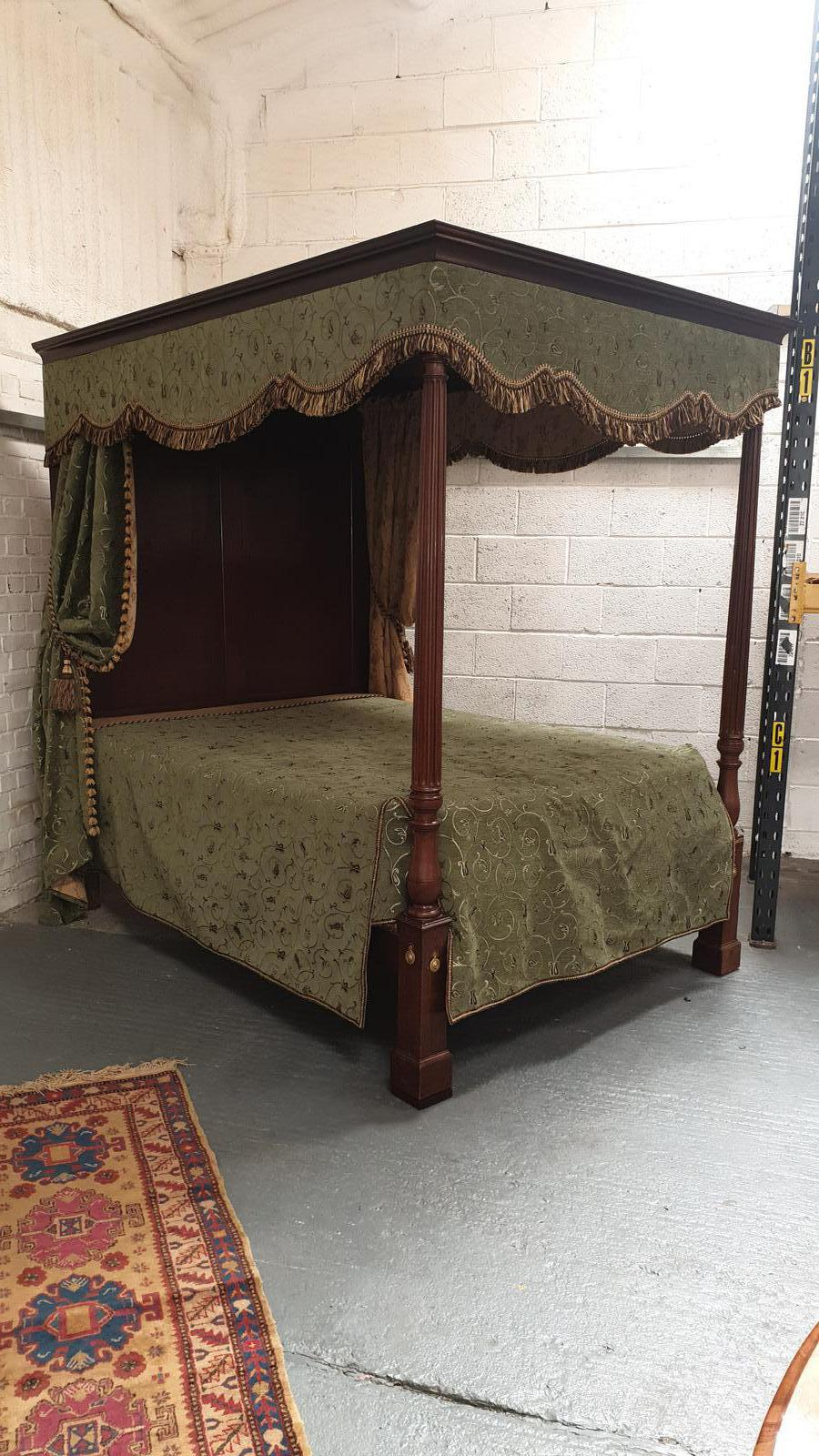 Superb William IV Mahogany Four Poster King-size Bed (1 of 1)