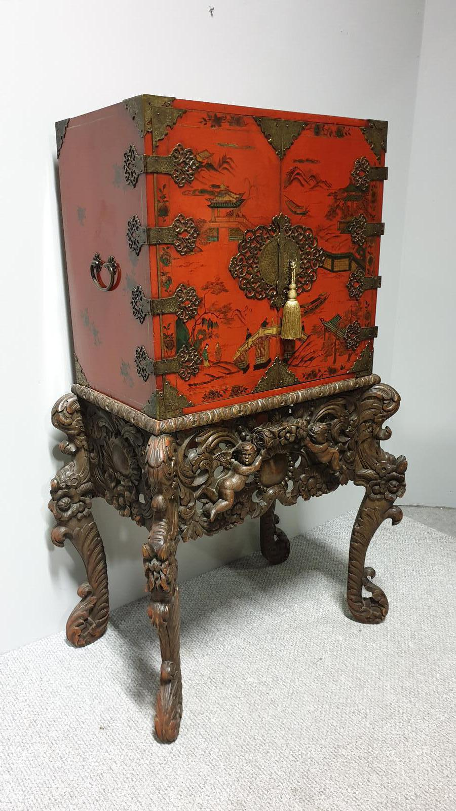 Antique Chinoiserie Red Lacquer Cabinet on  Stand Fitted Interior c.1900 (1 of 1)