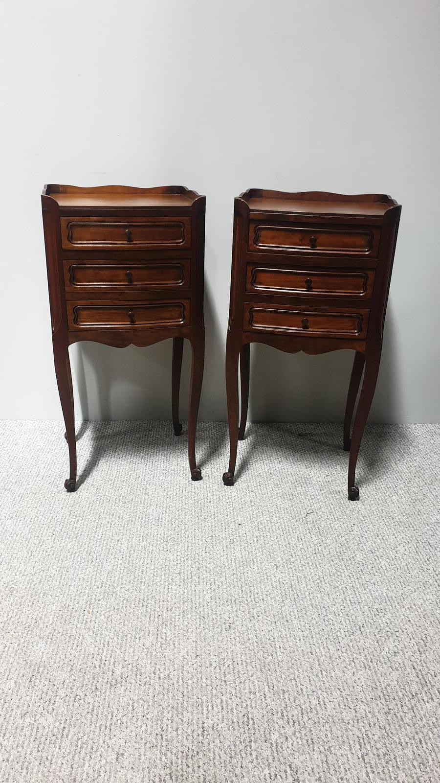 Pair of French Mahogany Bedside Chests of Drawers (1 of 1)