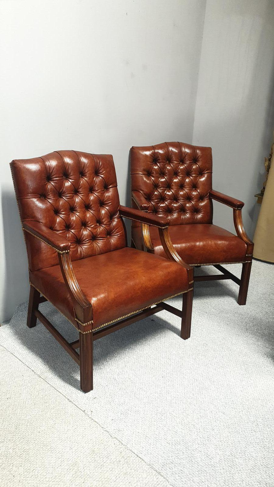 Outstanding Pair of Leather Gainsborough Library Chairs (1 of 1)