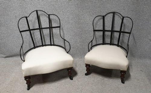 Pair Iron Framed Walnut Chairs (1 of 1)