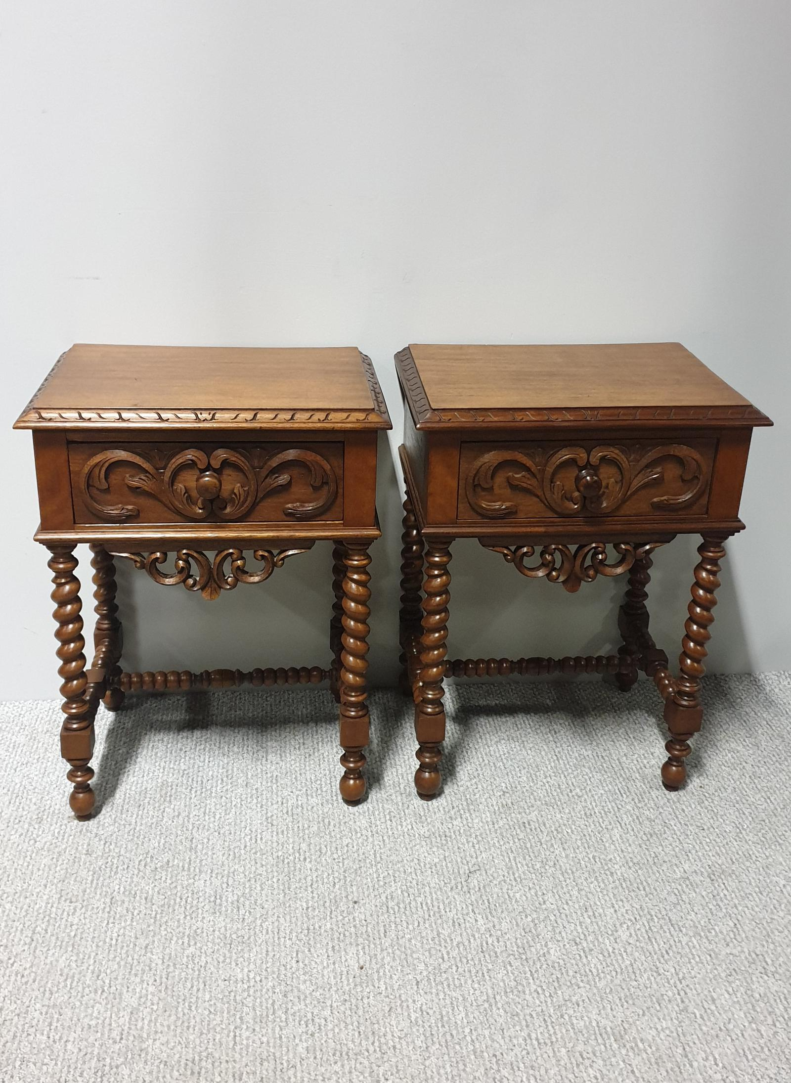 Pair of French Walnut Bedside Lamp Tables (1 of 1)
