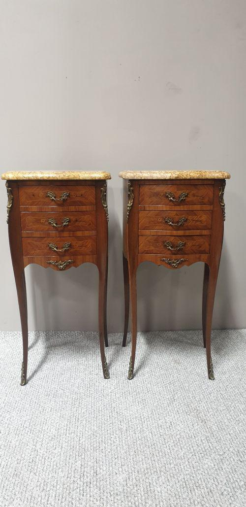 Pair French Marquetry Beside Chests of Drawers (1 of 1)