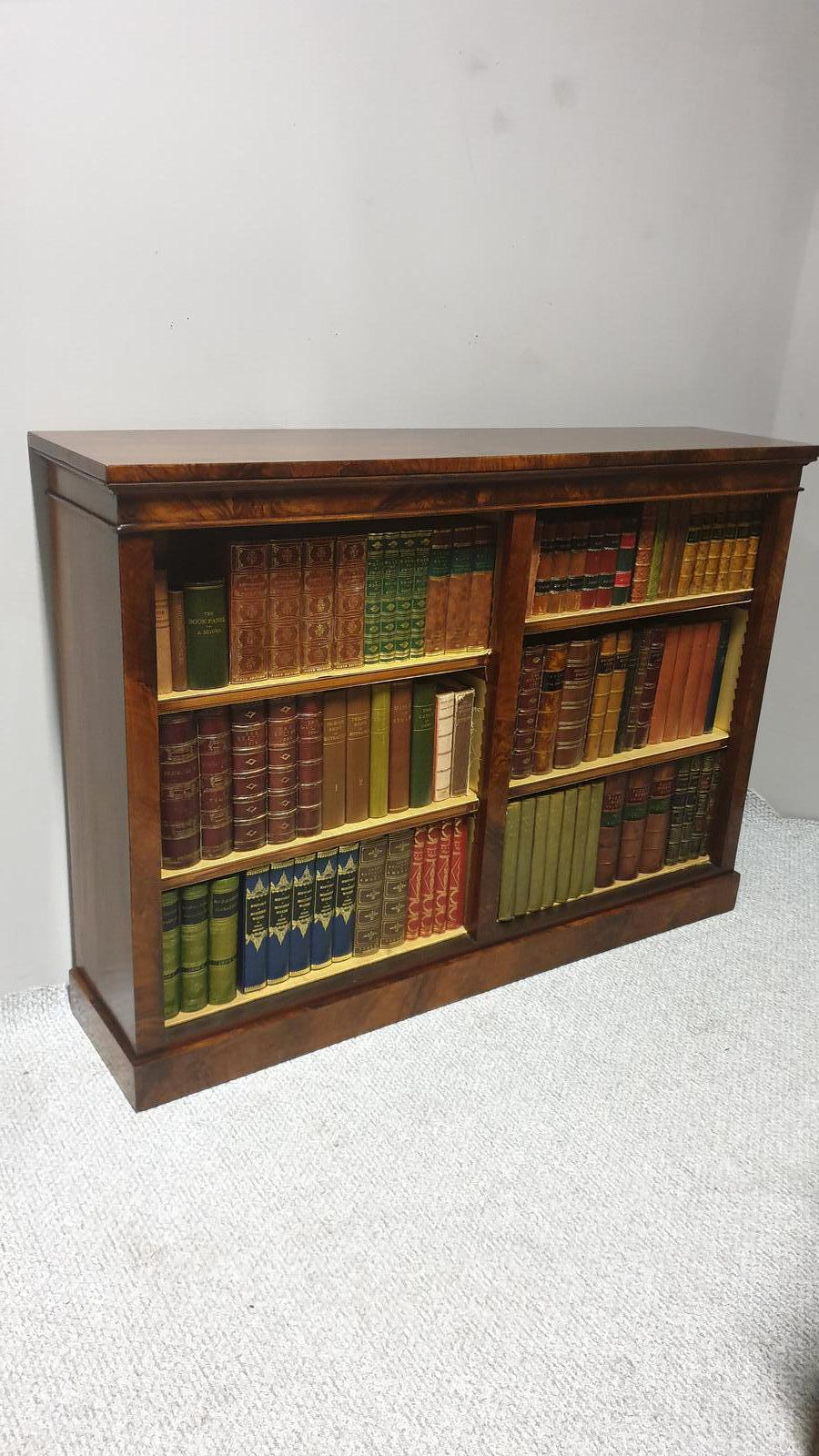 Victorian Burr Walnut Adjustable Open Bookcase (1 of 1)