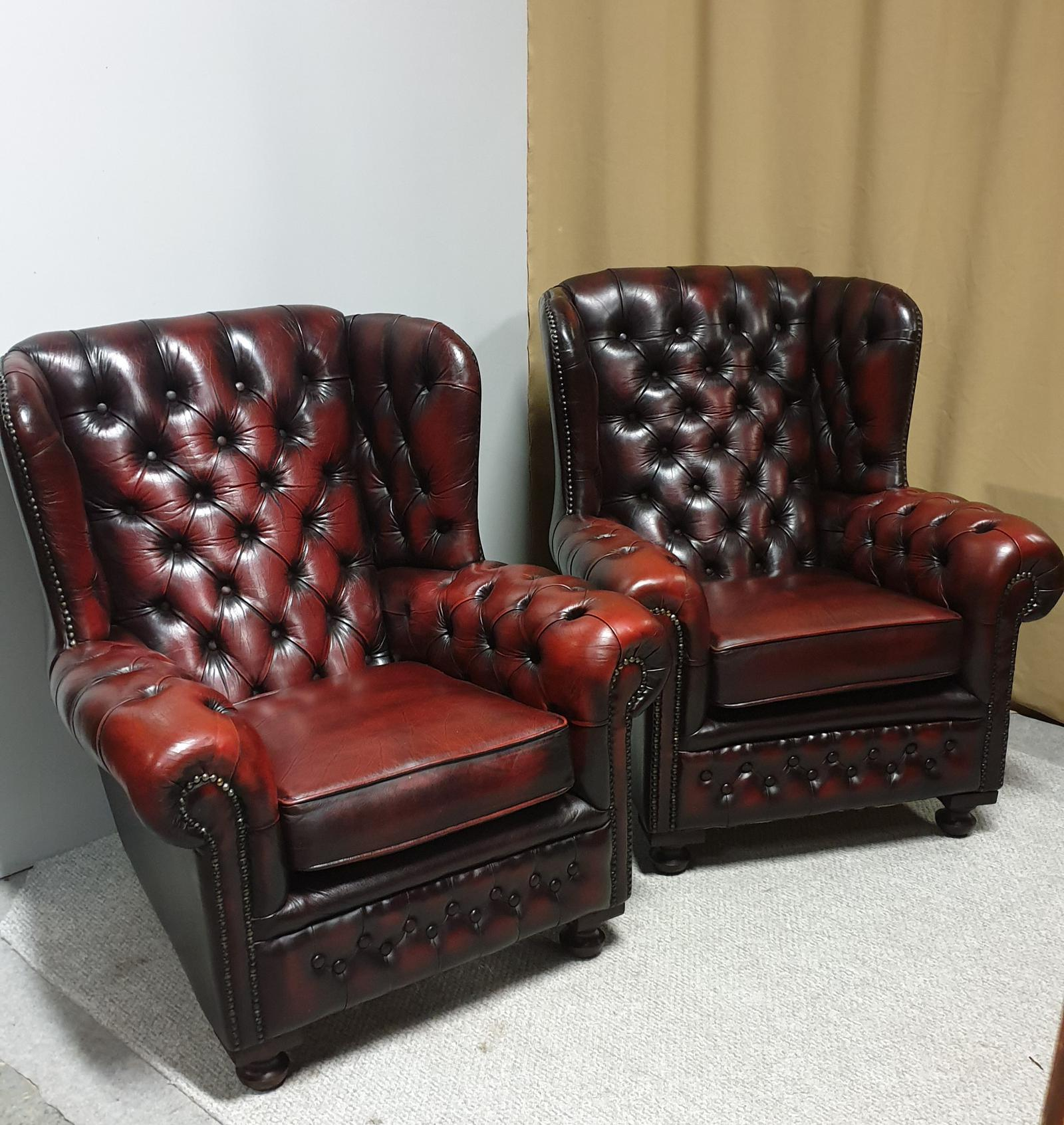 Superb Pair of Leather Wing Armchairs (1 of 1)