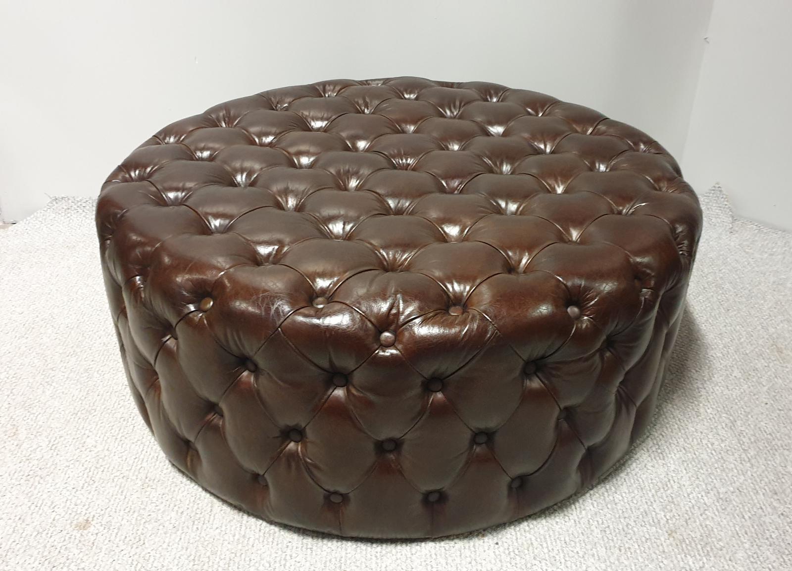 Large Round Leather Stool (1 of 1)