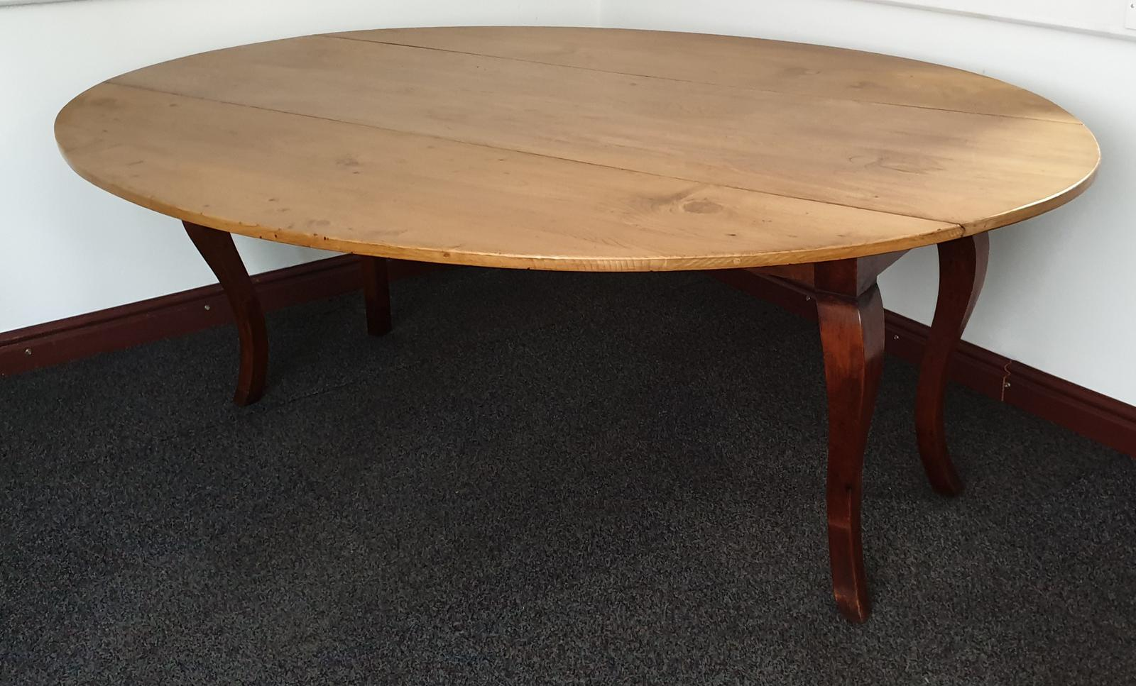 Large French Fruitwood & Pine Farmhouse Kitchen Table (1 of 1)