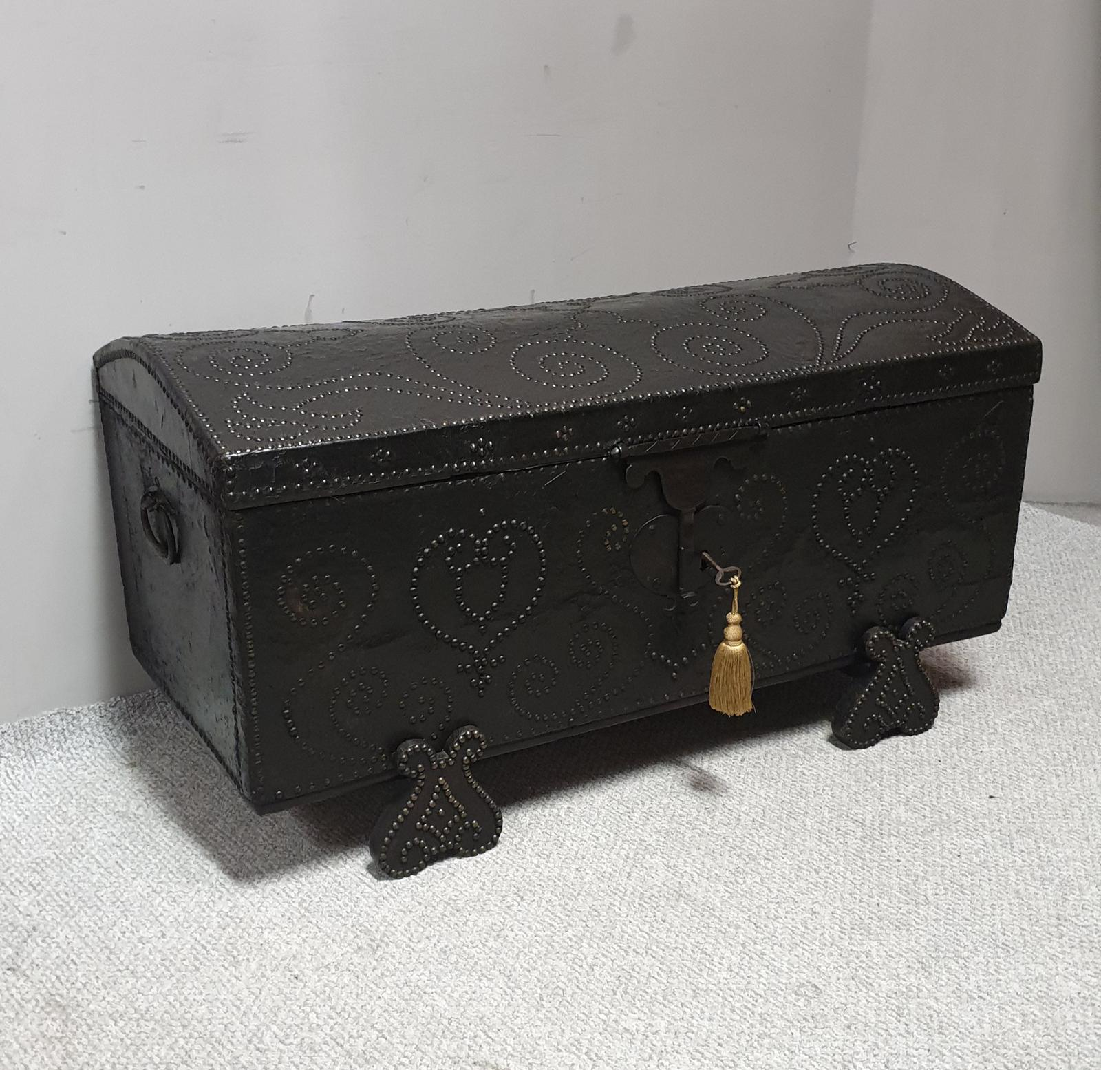 European 18th Century Crocodile Covered & Studded Travelling Chest (1 of 1)