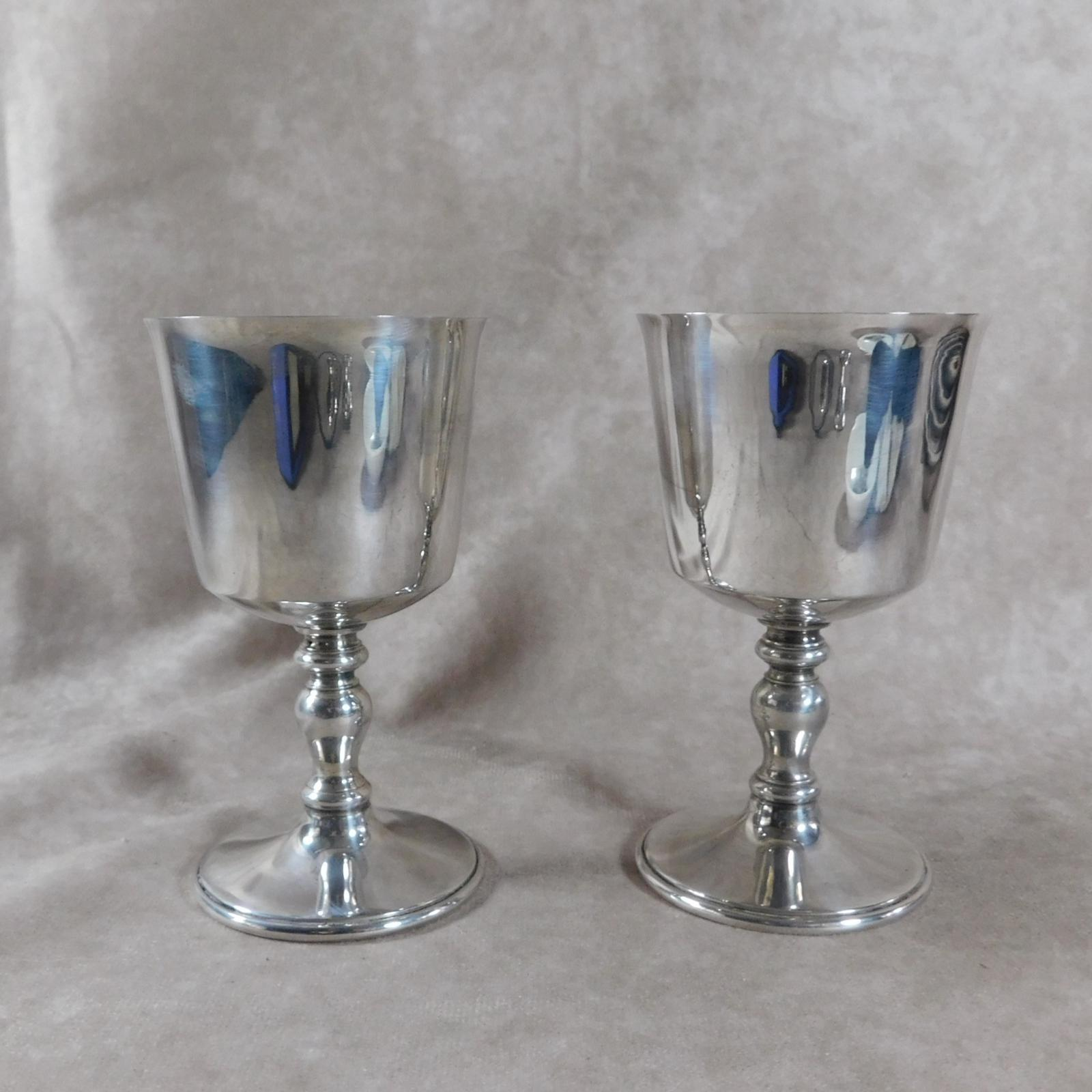 Pair of Silver Plated Goblets by Barker Ellis, England (1 of 1)