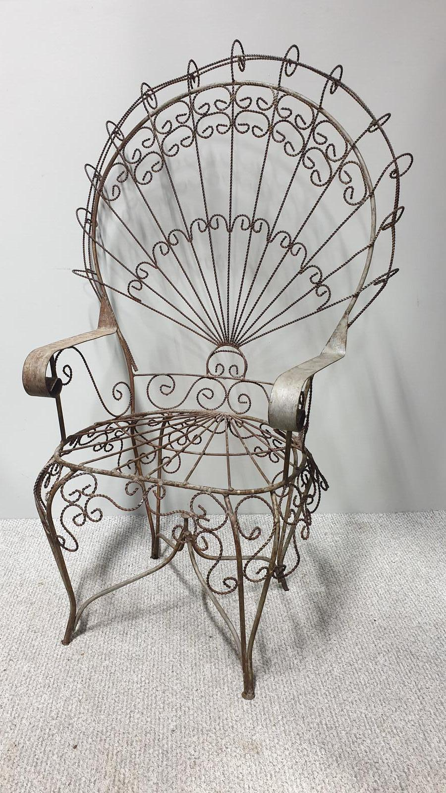 Superb Wrought Iron Peacock Chair by 'salterini' (1 of 1)