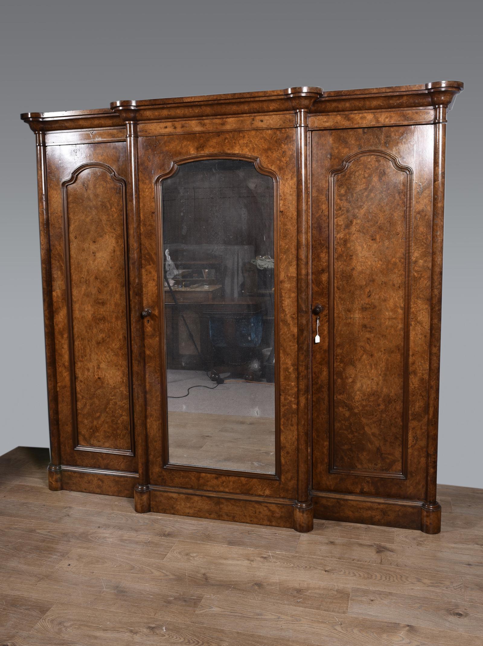 Large Antique Walnut Breakfront Triple Wardrobe (1 of 1)