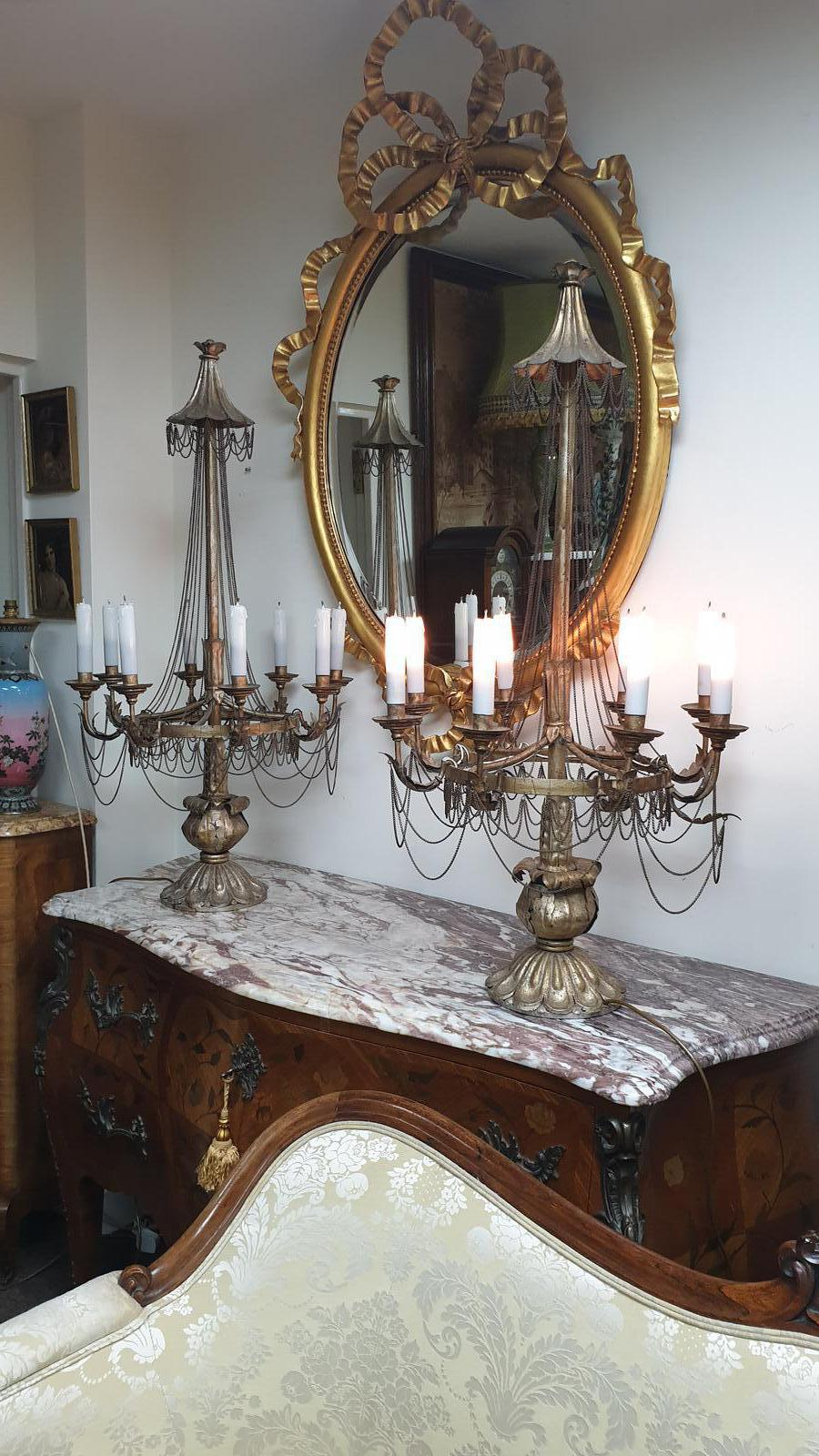 Outstanding Pair of French Eight Branch Table Lamps (1 of 1)
