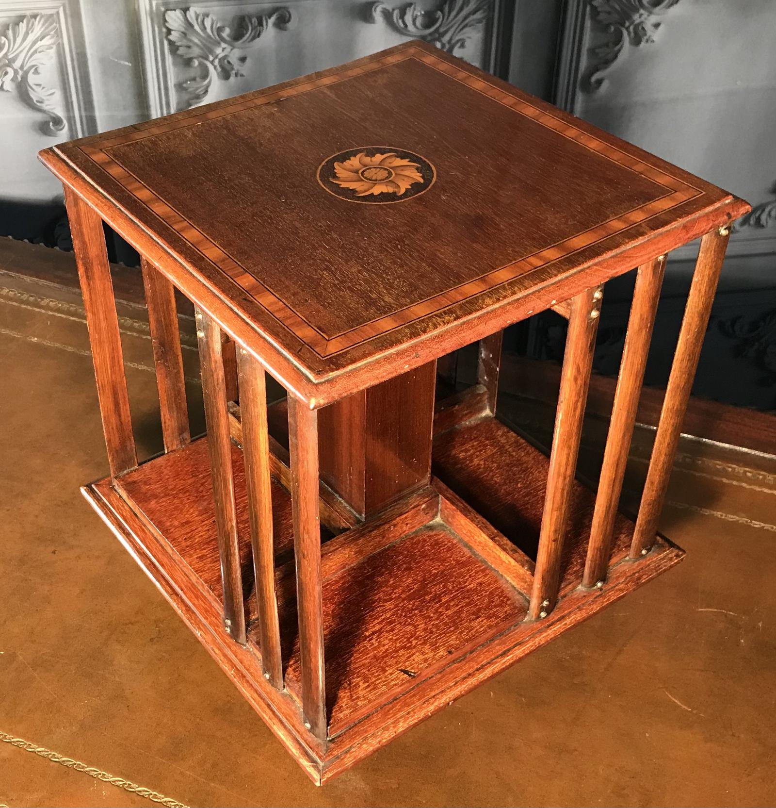Edwardian Inlaid Mahogany Desk Top Revolving Bookcase (1 of 1)