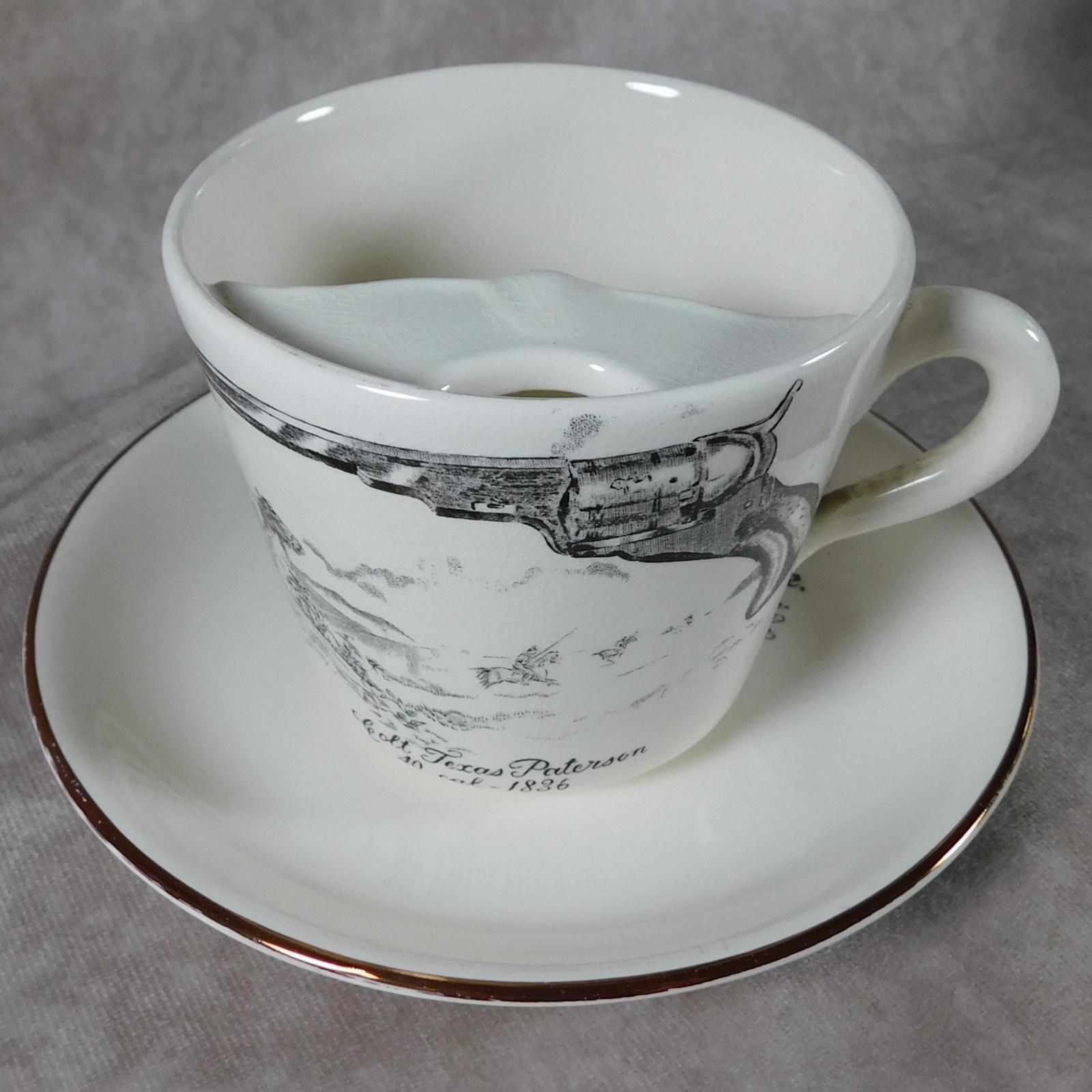 "Gray's Pottery ""Colt Texas Paterson""Moustache Cup & Saucer (1 of 1)"