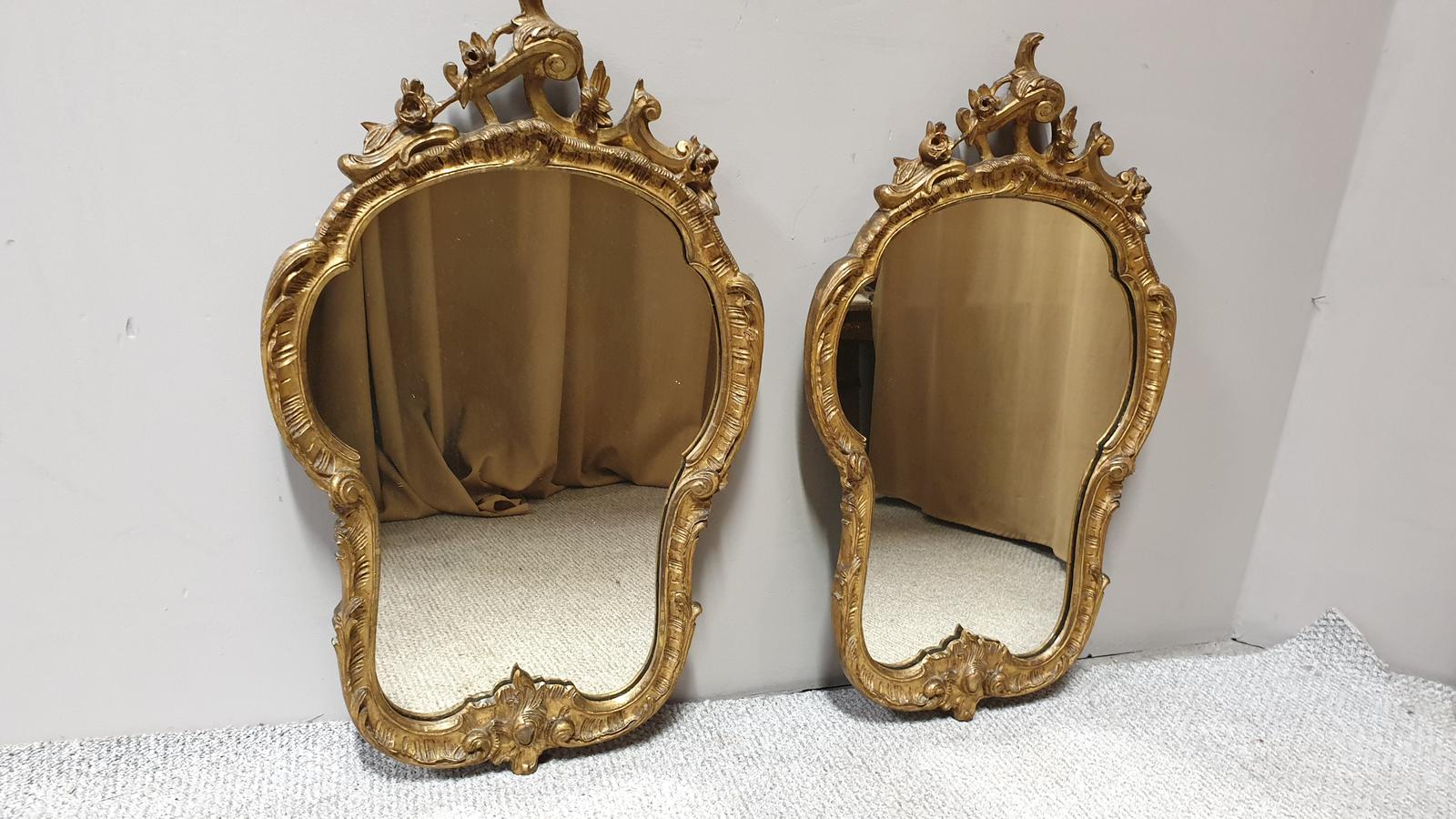 Pair of Victorian Gilt Rococo Mirrors (1 of 1)