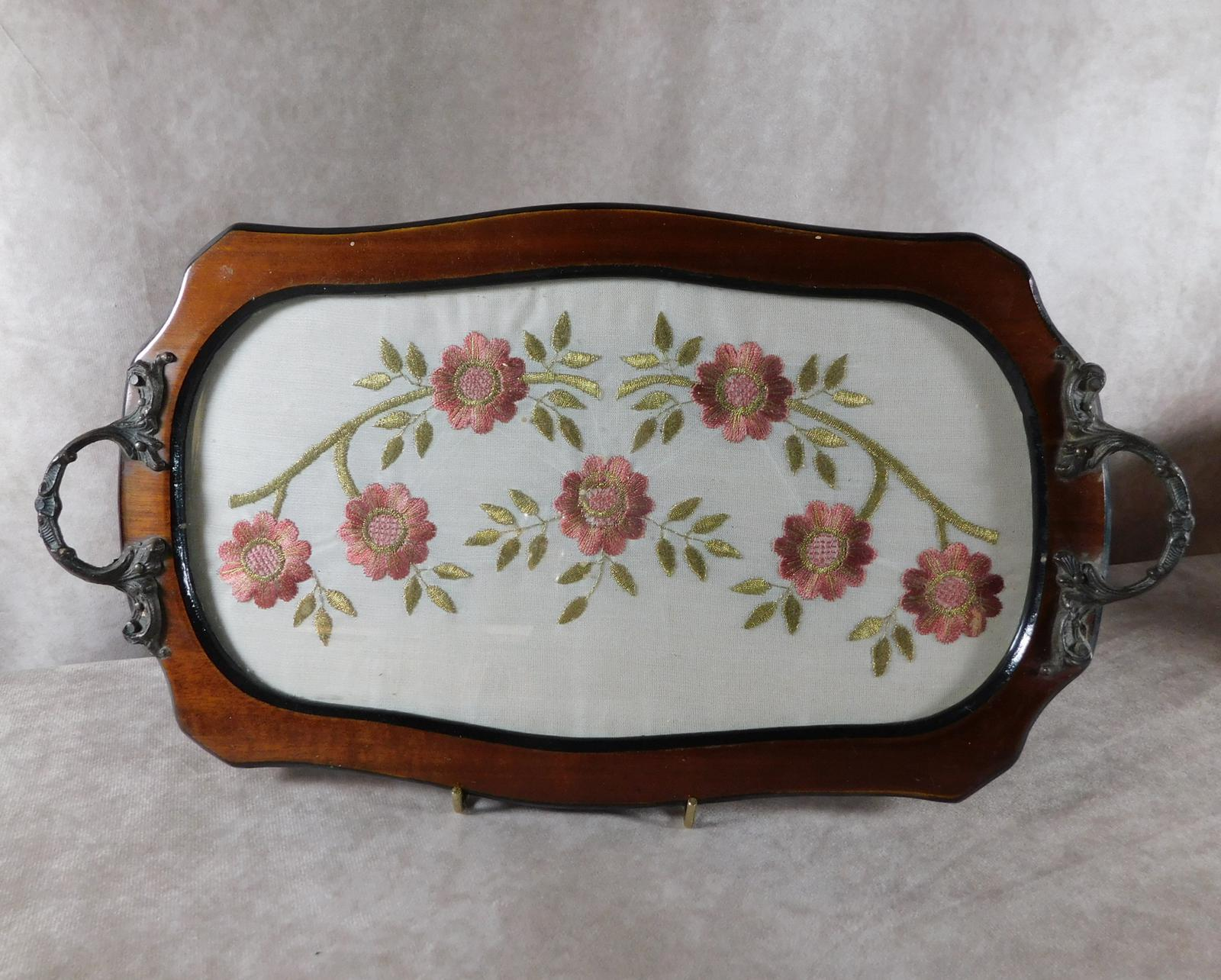 Mahogany Two Handled Tray with Silk Embroidered Panel (1 of 1)