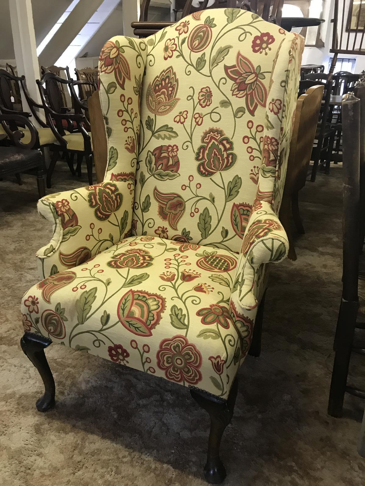 Wing Armchair Floral Material (1 of 1)