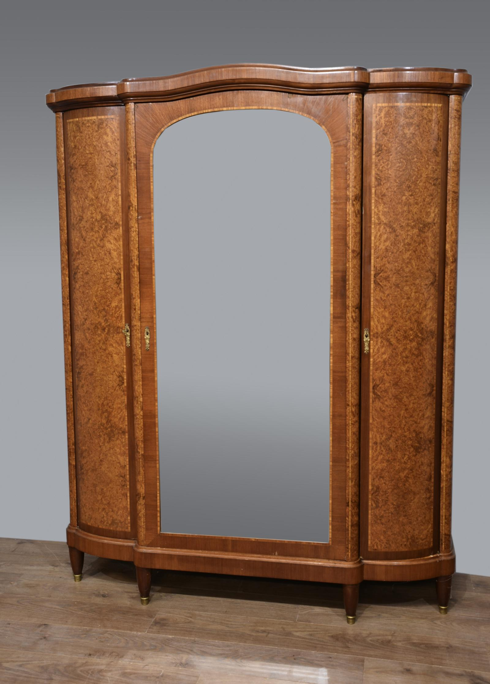 Large Antique French Aboyna Triple Wardrobe (1 of 1)