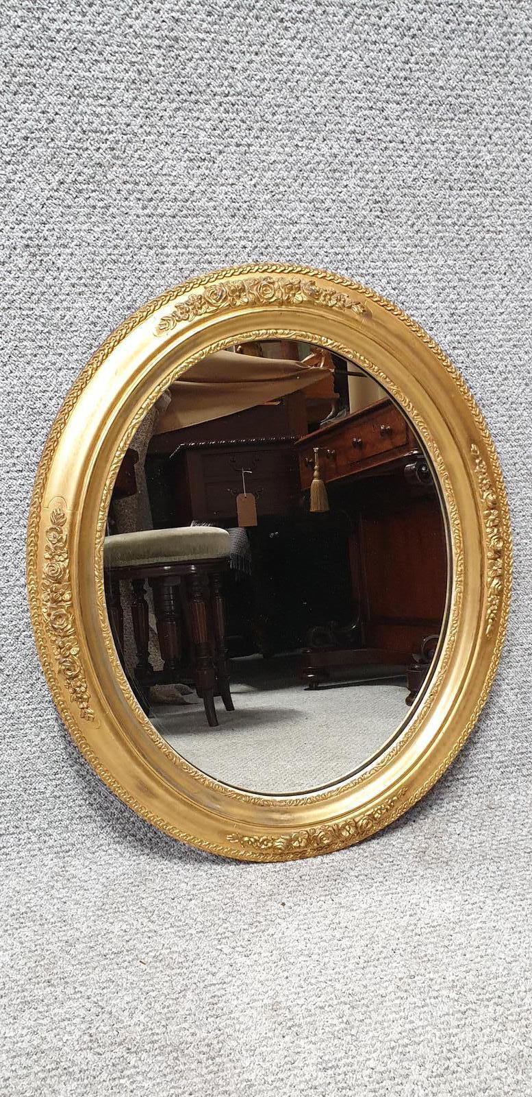 Pretty English Gilt Oval Mirror (1 of 1)