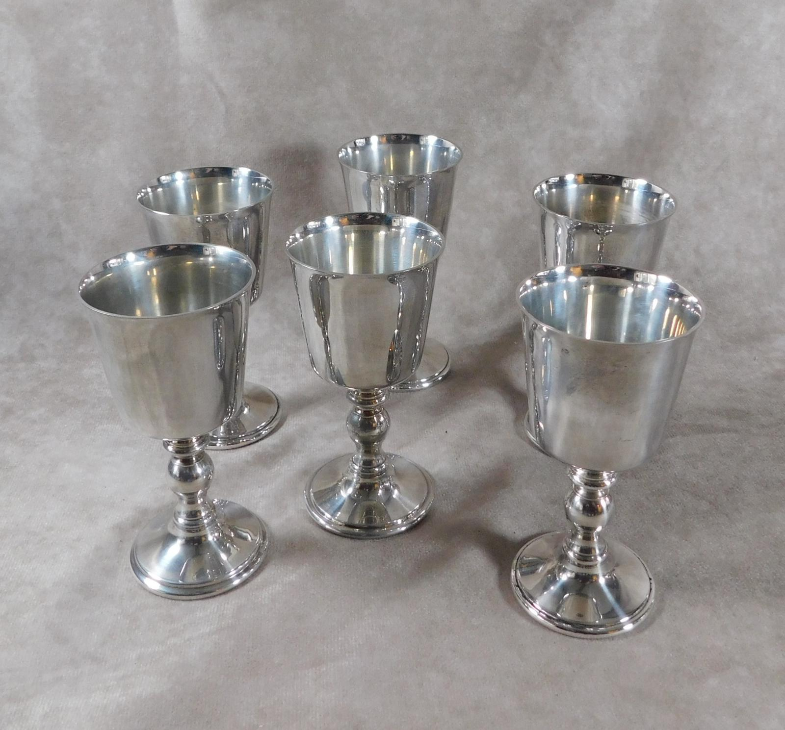 Set of Six Silver Plated Goblets by Barker Ellis, England (1 of 1)