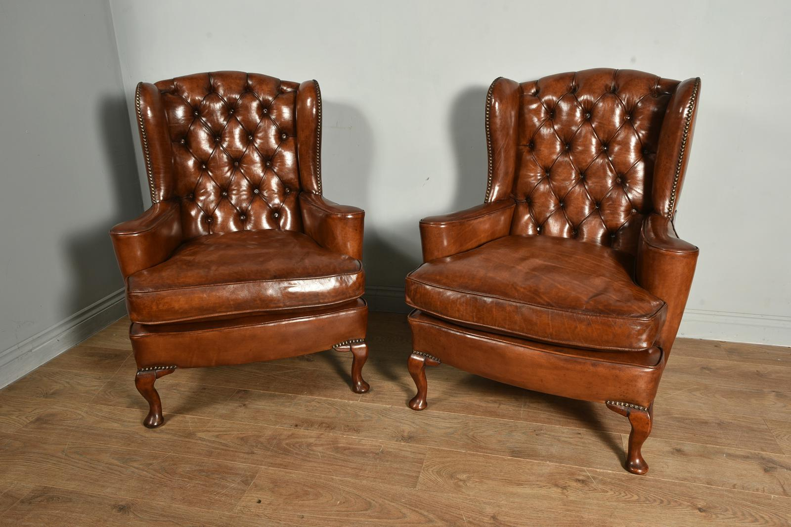 Antique Pair of Leather Chesterfield Wing Chairs (1 of 1)