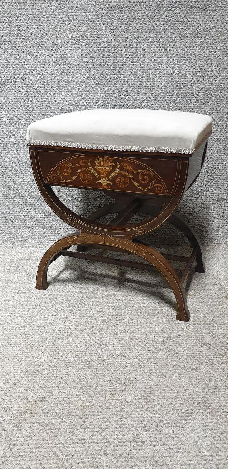 Rosewood Inlaid Piano Stool (1 of 1)