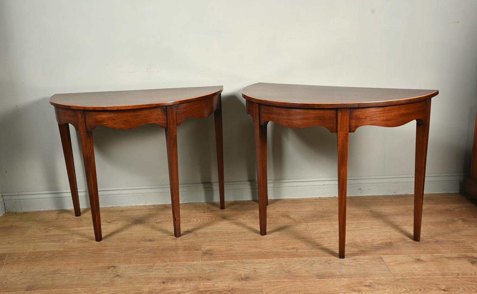 Antique Pair of Early Georgian Demi Lune Console Tables (1 of 1)