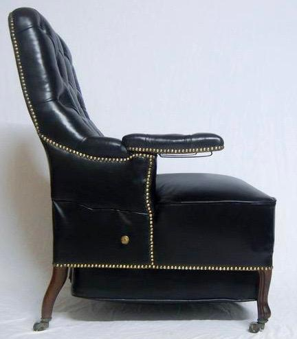 Pair of French Second Empire Rosewood & Leather Reclining Chairs c.1860 (1 of 1)